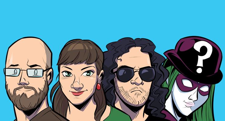 Das Team der Weisheit. In Grün. (Von links: Marcus, Patricia, Malik und die geheimnisvolle Supergästin.)