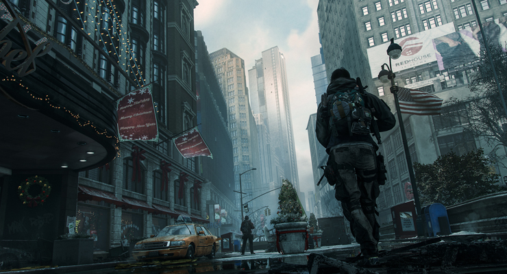 The Division. Mann vor Stadtkulisse. (Quelle: http://tomclancy-thedivision.ubi.com/game/en-us/media/)