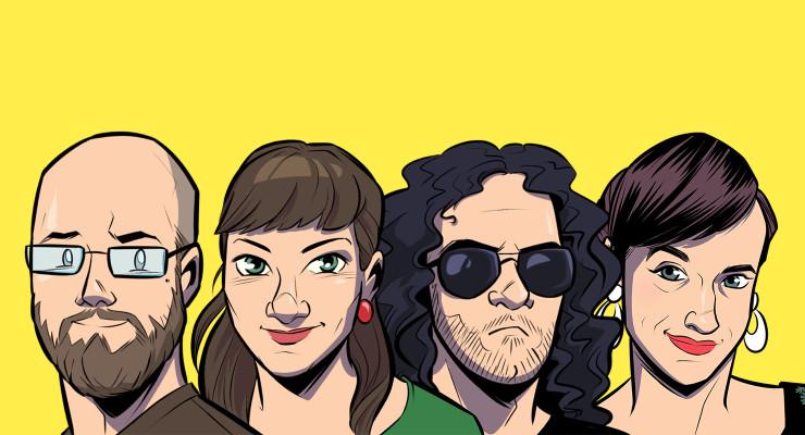 Das Team der Weisheit vor gelbem Hintergrund