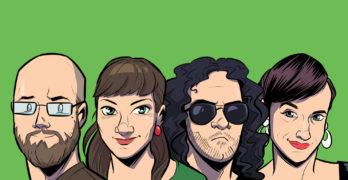 Das Team der Weisheit vor grünem Hintergrund