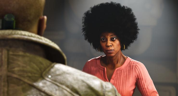 Der Charakter Grace schaut zum Haupthelden des Spiels Wolfenstein II